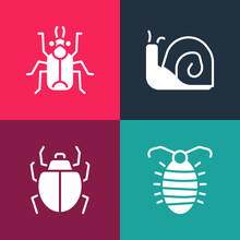 Set Pop Art Larva Insect, Mite, Snail And Beetle Bug Icon. Vector