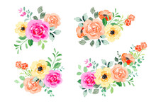 Collection Of Colorful Watercolor Flower Bouquet