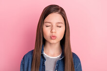 Photo Portrait Of Wearing Jeans Jacket Schoolgirl Pouted Lips Sending Air Kiss Isolated On Pastel Pink Color Background