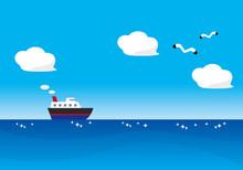 青い海を横切る船と青空を飛カモメ