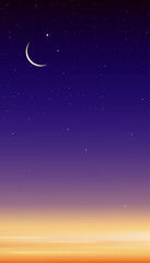 Night Sky with Crescent Moon and Stars Shining, Vertical Dramatic Dark Blue,Purple and Orange Sky, Beautiful view of Dusk Sky and Twilight, Vector Islamic religion for Ramadan month background