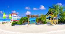 Half Moon Cay - Small Caribbean Island At Bahamas. Blue Water And White Sand. Collage