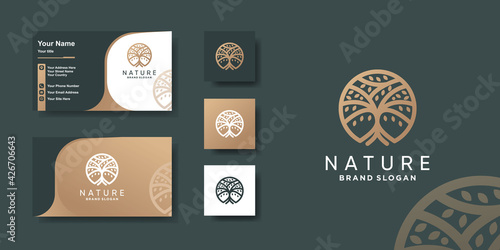 Canvas Tree logo with modern unique concept and business card design Premium Vector