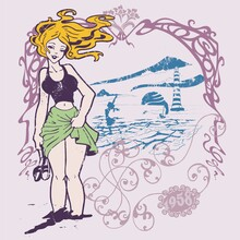 Pin Up With Blonde On The Beach With The Wavy Ocean And A Lighthouse In A Floral Frame In The Background