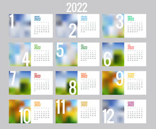 Calendar Planner For 2022. Calendar Template For 2022. Stationery Design Print Template With Place For Photo, Your Logo And Text. Corporate And Business Calendar.
