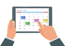 Calendar Planner For 2022. Hand With A Tablet With A Calendar, One Month Plans. Design Print Template. Set Of 12 Calendar Pages.