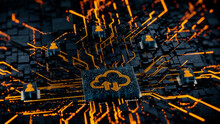 Data Storage Technology Concept With Cloud Symbol On A Microchip. Orange Neon Data Flows Between Users And The CPU Across A Futuristic Motherboard. 3D Render.