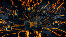 Ecommerce Technology Concept With Shopping Symbol On A Microchip. Orange Neon Data Flows Between Users And The CPU Across A Futuristic Motherboard. 3D Render.