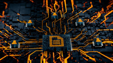 Word Document Technology Concept With Document Symbol On A Microchip. Orange Neon Data Flows Between Users And The CPU Across A Futuristic Motherboard. 3D Render.