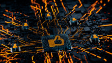 Social Media Technology Concept With Like Symbol On A Microchip. Orange Neon Data Flows Between Users And The CPU Across A Futuristic Motherboard. 3D Render.