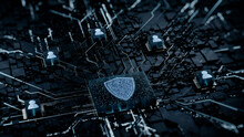 Security Technology Concept With Shield Symbol On A Microchip. White Neon Data Flows Between Users And The CPU Across A Futuristic Motherboard. 3D Render.