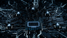 Display Technology Concept With Monitor Symbol On A Microchip. White Neon Data Flows Between Users And The CPU Across A Futuristic Motherboard. 3D Render.