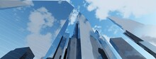 City Landscape, High-rise Buildings In The Sky, Skyscrapers In The Sky, 3D Rendering