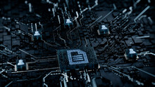 Word Document Technology Concept With Document Symbol On A Microchip. White Neon Data Flows Between Users And The CPU Across A Futuristic Motherboard. 3D Render.