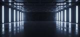 Fototapeta Perspektywa 3d - Sci Fi Futuristic Garage Hangar Studio Modern Hexagon White Neon Blue Lights Glowing Concrete Cement Showroom Underground Tunnel Corridor Background 3D Rendering