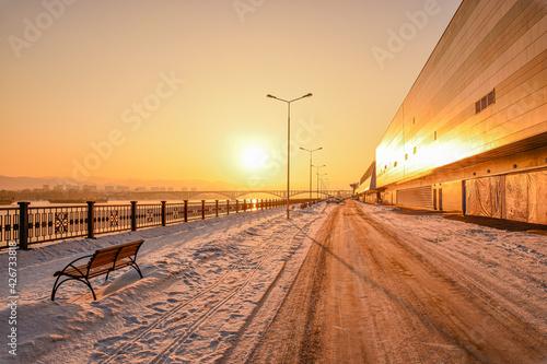 Fotografie, Tablou Sunset on the Yenisei embankment