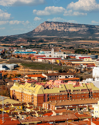 Aerial view of Almansa in the mountains of Albacete in Spain.