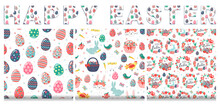 Hand Drawn Seamless Pattern Set Of Cute Easter Eggs, Chicken, Rabbit, Bunny, Chick In Eggshell, Flowers, Butterfly, Baskets, Carrots, Birds, Leaves. Happy Easter Spring Floral Sketch Illustration