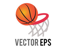 Vector Classic Gradient Orange Basketbal Game Ball Icon With Red Ring And Net