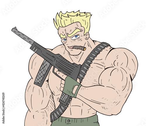Obraz na plátně Muscle soldier draw