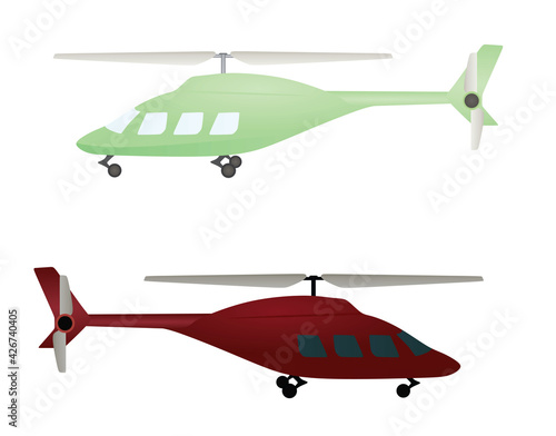 Fotografia Green and red  isolated helicopter. vector illustration