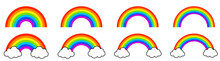 Colorful Rainbows Icons Set. Collection Classic Rainbow. Red, Orange, Yellow, Green, Blue And Purple Colour. Rainbow With White Cloud.
