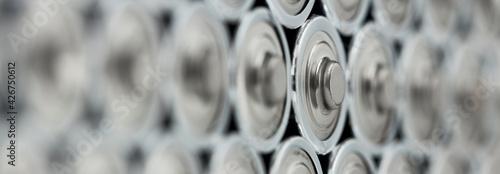Fotografija a modern batteries close up panorama