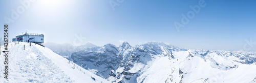 Fototapeta panorama from the top of the Schilthorn on Piz Gloria, where James Bond was filmed