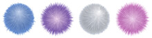 Fur Pompoms. Fluffy Furry Balls, Set Of Colorful Isolated Elements. Shaggy Realistic Texture. Vector Illustration