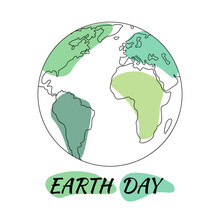 Earth Day.Banner Earth Day. Line Art,Hand Drawn Earth Planet.World Saving,protection Family And Environment Concept.Globe Pollution,contemporary World.World Map Line Art.