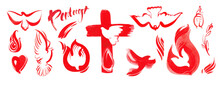 Pentecost, Holy Spirit, Christian Symbols, Church Logo. Christian Elements For Church Publications, Prints And Christian Holiday Designs