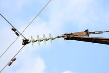 Power Transmission Line Close-up. Energy Consumption.