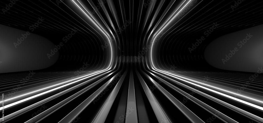 Fotografie, Obraz A dark corridor lit by white neon lights