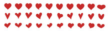 A Set Of Hearts For Design. Red Icons. Flat Design. Heart And Love. Collection Of Various Hearts, A Symbol Of Lovers. Sincerity, Light Feelings, Fall In Love, Spring. Romantic Items For Couple.