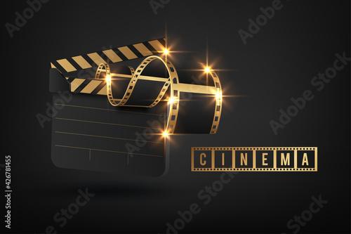 Fototapeta Vector realistic movie clapper slapstick