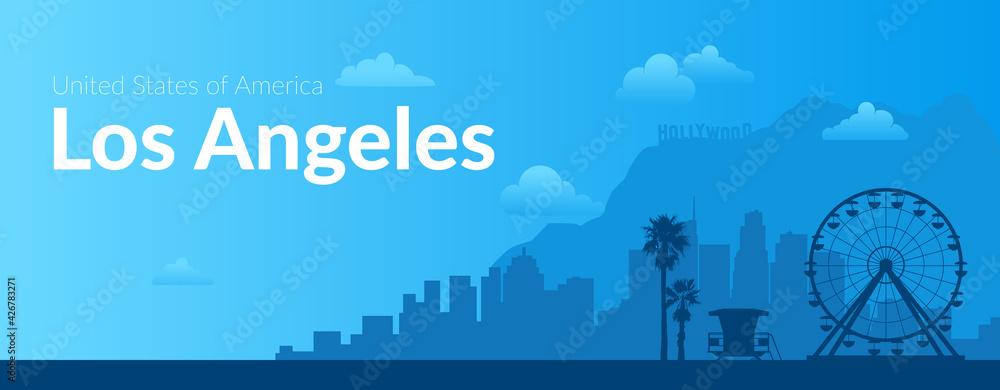 Fototapeta Los Angeles, USA famous city scape background.