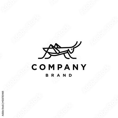 Valokuvatapetti Grasshopper mantis logo line abstract, cricket insect icon in trendy minimal lin