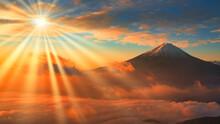 新道峠より雲海の富士山