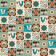 Modern Patchwork Featuring Assorted Folksy Flowers, Cute Bird With Wild Strawberry, House, Geometric Quilting Blocks In Trendy Comforting Calm And Ground Hues. For Interior Decor, Printed, Web Items.
