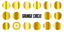 Gold Gradient Grunge Circle Banner Set Of 16 Vector Illustrator Design Grunge Round Shape