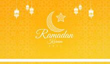 Ramadan Kareem 2021 Beautiful Yellow Background With Moon And Hanging Lanterns Islamic Pattern Background