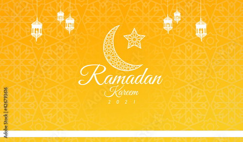 Leinwand Poster Ramadan Kareem 2021 beautiful yellow background with moon and hanging lanterns I