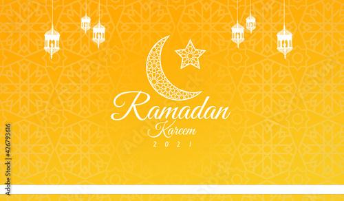 Leinwand Poster Ramadan Kareem 2021 beautiful yellow background with moon and hanging lanterns I