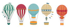 Aerostat Balloon Transport Set. Vintage Hot Air Balloons Vector Illustration