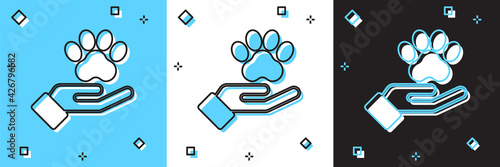 Set Hands with animals footprint icon isolated on blue and white, black background. Pet paw in heart. Love to the animals. Vector - fototapety na wymiar