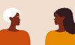 Happy mother's day, black mother and daughter concept. Side view of black senior mother and her daughter look at each other. Young woman looks at her mature version. Vector illustration in flat style.