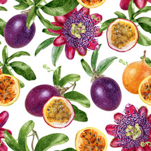 Watercolor Seamless Pattern Passion Fruit Isolated On White Background.
