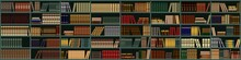 Vector Background From Books. Bookshelf. Large Bookcase In The Library, Shop With Many Different Books.