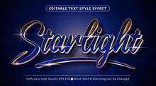 Starlight Text, Shiny Royal Blue Golden Style Editable Text Effect