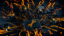 Configure Technology Concept With Tool Symbol On A Microchip. Orange Neon Data Flows Between Users And The CPU Across A Futuristic Motherboard. 3D Render.